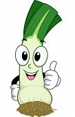 Mascot Illustration Featuring a Leek Doing a Thumbs Up