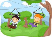 Illustration Featuring Kids Sliding Down a Zipline