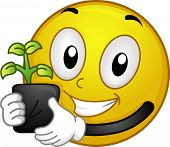 Illustration of a Smiley Holding a Seedling