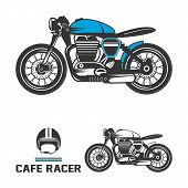 Cafe racer motorcycle with helmet.