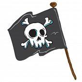 image of skull crossbones flag  - pirate flag isolated on white comic illustration - JPG