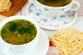 Noodles In Chicken Broth With Herbs