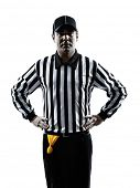 american football referee gestures offside in silhouette on white background