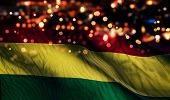 Bolivia National Flag Light Night Bokeh Abstract Background