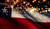 Chile National Flag Light Night Bokeh Abstract Background