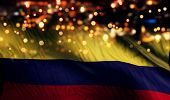 Colombia National Flag Light Night Bokeh Abstract Background