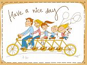 picture of tandem bicycle  - Picture postcard - JPG