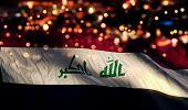 stock photo of iraq  - Iraq National Flag Light Night Bokeh Abstract Background - JPG