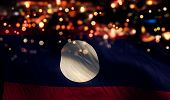 Laos National Flag Light Night Bokeh Abstract Background
