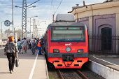 St. Petersburg, Russia - August 23, 2013: Modern Suburban Electric Train Standing At The Station, Pa