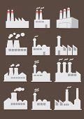 Industrial Factory Building Vector Icon Set