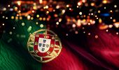 Portugal National Flag Light Night Bokeh Abstract Background