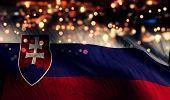 Slovakia National Flag Light Night Bokeh Abstract Background