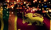 Sri Lanka National Flag Light Night Bokeh Abstract Background