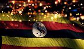 Uganda National Flag Light Night Bokeh Abstract Background