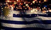 Uruguay National Flag Light Night Bokeh Abstract Background