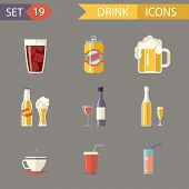 Retro Flat Alcohol Beer Juice Tea Wine Drink Icons and Symbols Set Vector Illustration