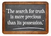 the search for truth is more precious than its possession - a quote from Albert Einstein on a vintag