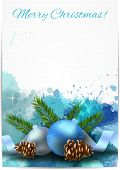 Christmas Light Background With Blue Decorations
