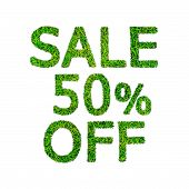 Fifty Percent Discount Icon Sale, Green Grass Numeral
