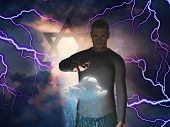 Star of David and Man Levitates Cloud while Storm Rages behind Him