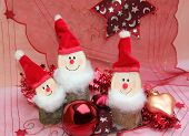 Christmas Decoration With Three Gnomes, Wooden Handicraft Work