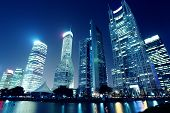 Modern City At Night,shanghai,china