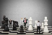 picture of chessboard  - Strategy and tactics of a team of businessman - JPG