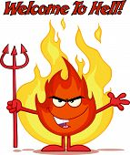 Evil Fire Cartoon Character Holding Up A Pitchfork In Front Of Flames With Text