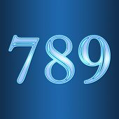 Glowing Neon Number On Blue Background. Letter 7 8 9 Seven, Eight, Nine