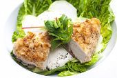 picture of kohlrabi  - chicken meat with kohlrabi and garlic sauce - JPG