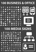 business, office, media icons set, vector on black background