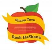 Illustration Of Red Apple And Yellow Scroll Banner Upon, Card For Jewish New Year
