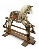 foto of rock carving  - old antique carved wooden rocking horse original made by The Baby Carriage Company circa 1890 - JPG