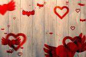 ~Love heart pattern against pale grey wooden planks