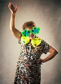 Merry old woman. Happy fun granny. Adult funny dancing female on party