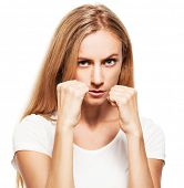 Boxing business woman isolated on white. Angry female
