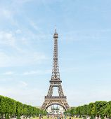 Panorama of Eiffel Tower with blue sky from garden, Paris France