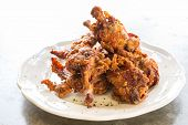 Buffalo Wing, Deep fried chicken, in white plate