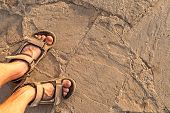 image of sand gravel  - man feet in sandals on beach sand - JPG