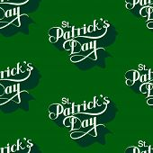 vector seamless pattern with handwritten Saint Patricks Day label. holiday lettering composition