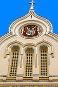 Architectural Details At One Historic Serbian Church Facade. Timisoara, Romania