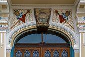 Architectural Details At One Historic Serbian Church Entrance. Timisoara, Romania.