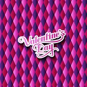 vector typographic illustration of handwritten St. Valentines Day retro label on the multicolored ge