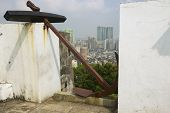 View to the Macau city skyline from the fortress, Macau, China.