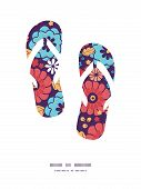 Vector colorful bouquet flowers flip flops silhouettes pattern frame