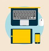 Top view of Electronic Devices: laptop, tablet and mobile phones. Vector Illustration.