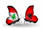 Two Butterflies With Flags On Wings As Symbol Of Relations Lebanon And Albania