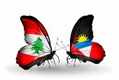 Two Butterflies With Flags On Wings As Symbol Of Relations Lebanon And Antigua And Barbuda