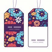 Vector colorful bouquet flowers vertical stripe frame pattern tags set
